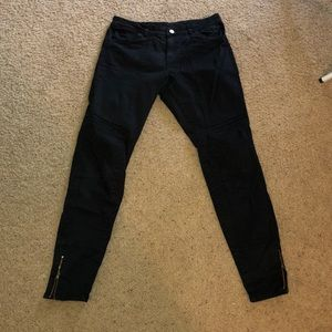 Black BP jeans with patch details and zipper